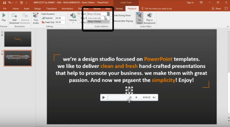 Set up audio to start automatically in PowerPoint