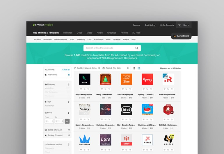 MailChimp email templates from ThemeForest