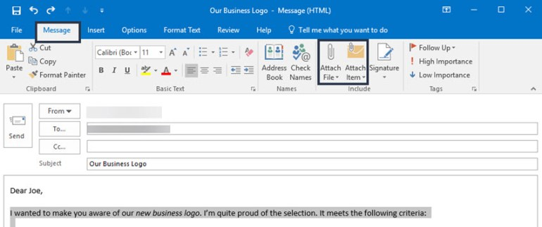 Attaching a file or item in Microsoft Outlook