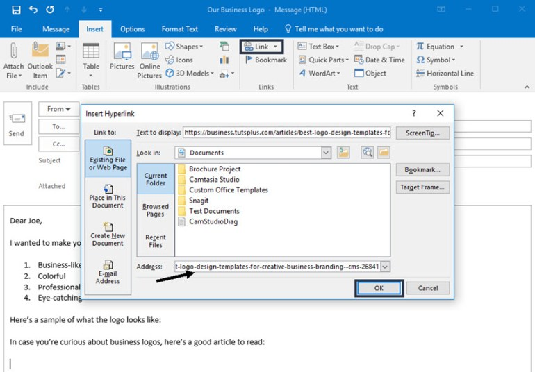 Inserting a link into a Microsoft Outlook message