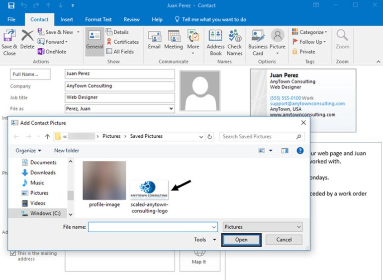 Browser window for adding image to Outlook contact
