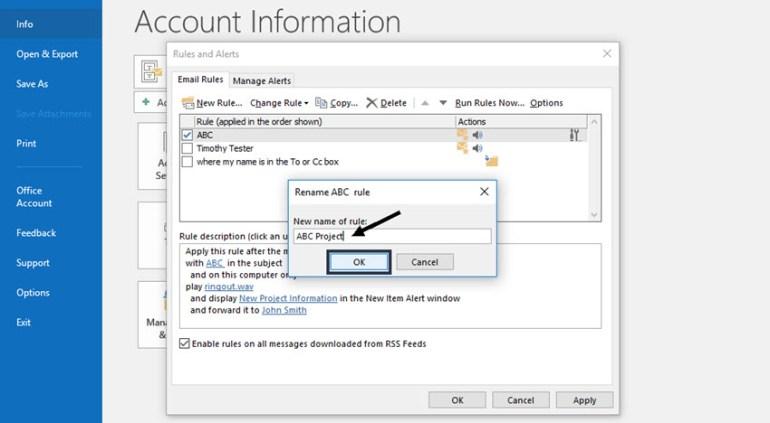 Renaming a Microsoft Outlook rule