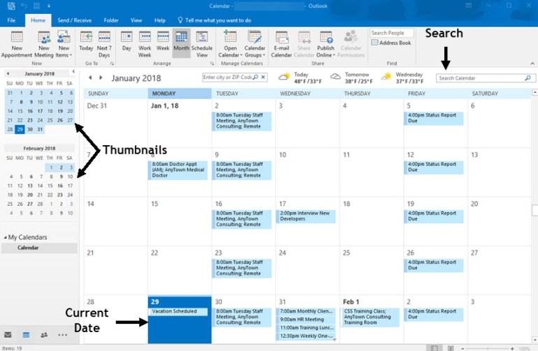 Microsoft Outlook Calendar