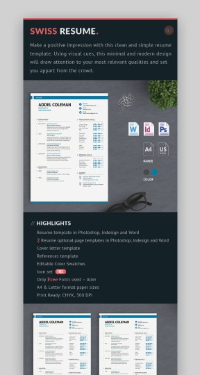 18 Best Photoshop  PSD  Resume Templates  With Photo Formats  Swiss Resume Template