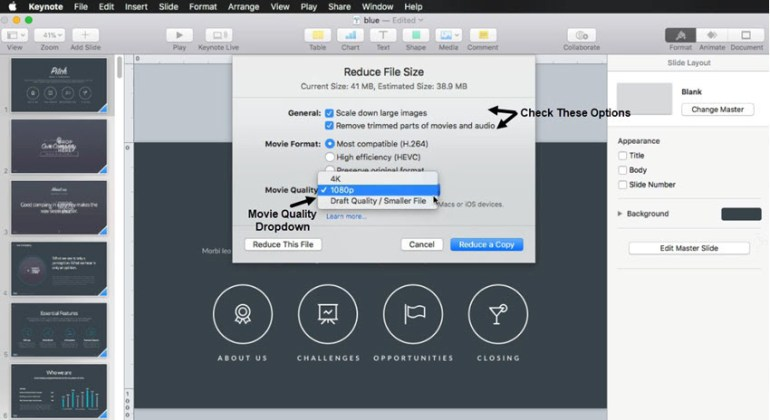 Reduce the size of a video in your Keynote presentation
