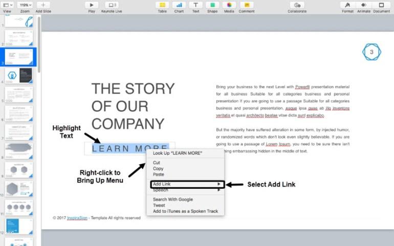 Add a Keynote hyperlink to a web page