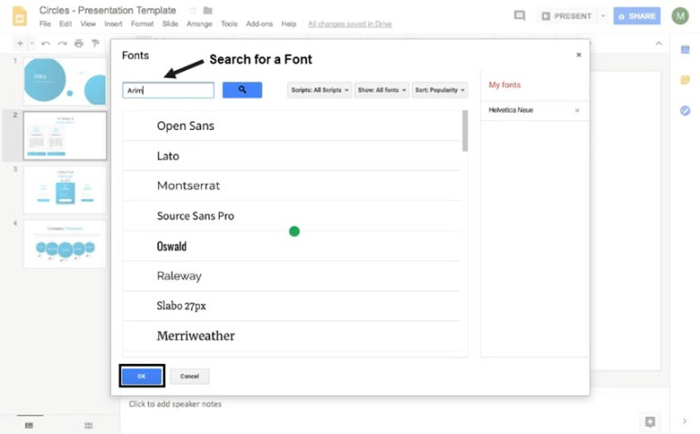 how to add new fonts to Google Slides using the Font Explorer