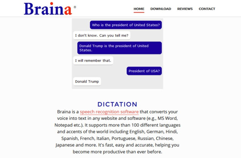 Braina speech recognition software