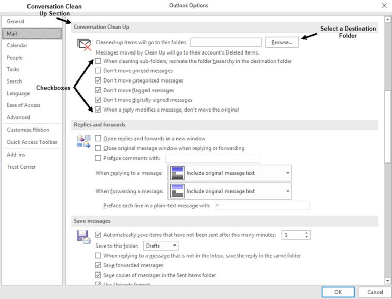 Outlook Options window