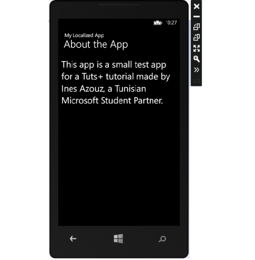 About the App page English version