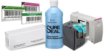 postage meter ink, labels and sealing solution