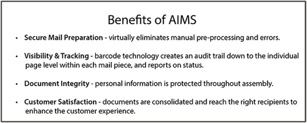 Benefits of AIMS box with bullet points