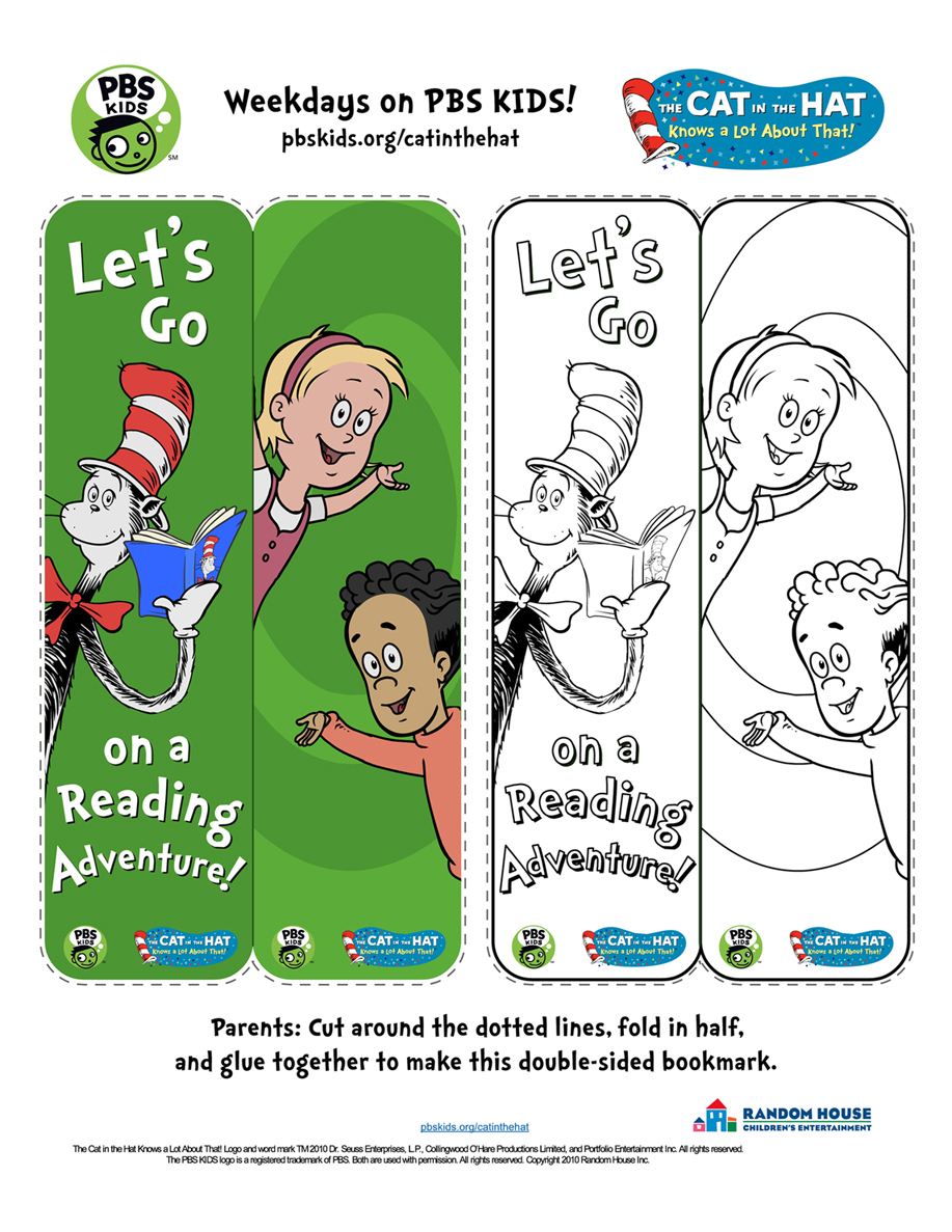 Cat In The Hat Bookmark Kids Coloring Pages Pbs Kids For Parents
