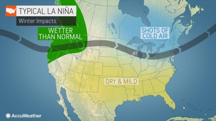 The cold equivalent of El Nio, La Nia affects US winters in the Pacific