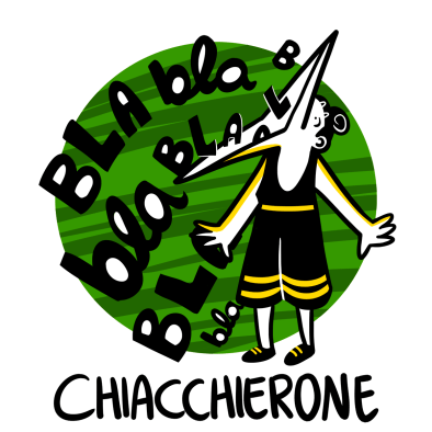 Illustration of a person with a large mouth chatting away; Chiacchierone, alllora, and other Italian words