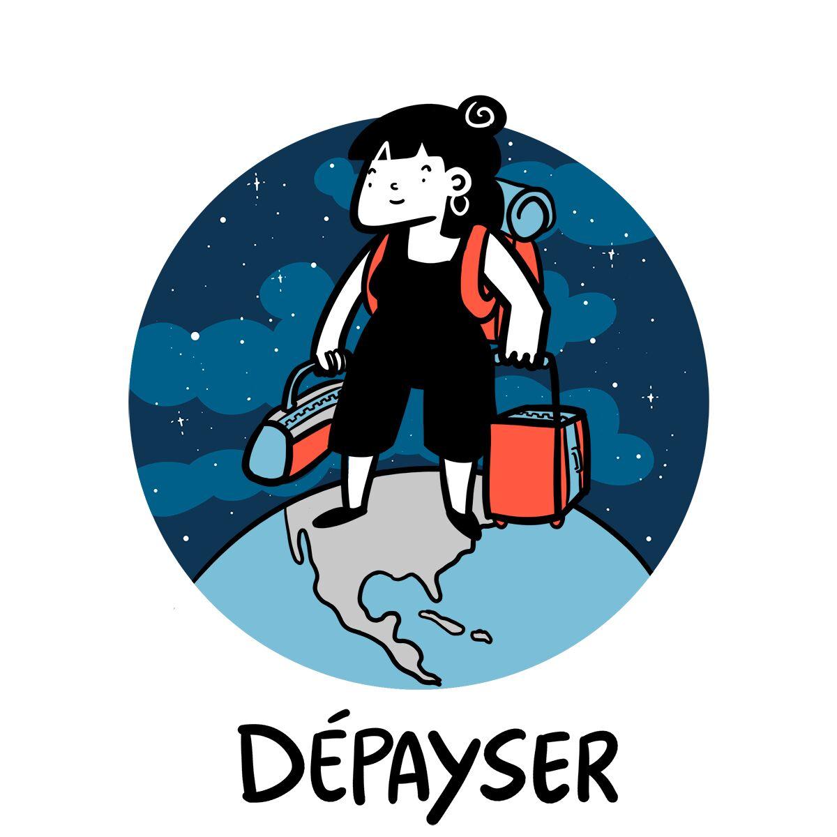 Une voyageuse disproportionnée est debout sur la terre, prête à partir à l'aventure avec ses sacs et valises