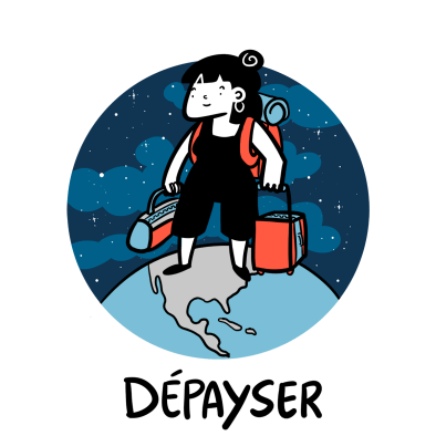French word Depayser, illustration world traveler
