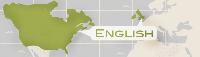 Map highlighting English-speaking countries: UK, USA, Canada, Australia, New Zealand