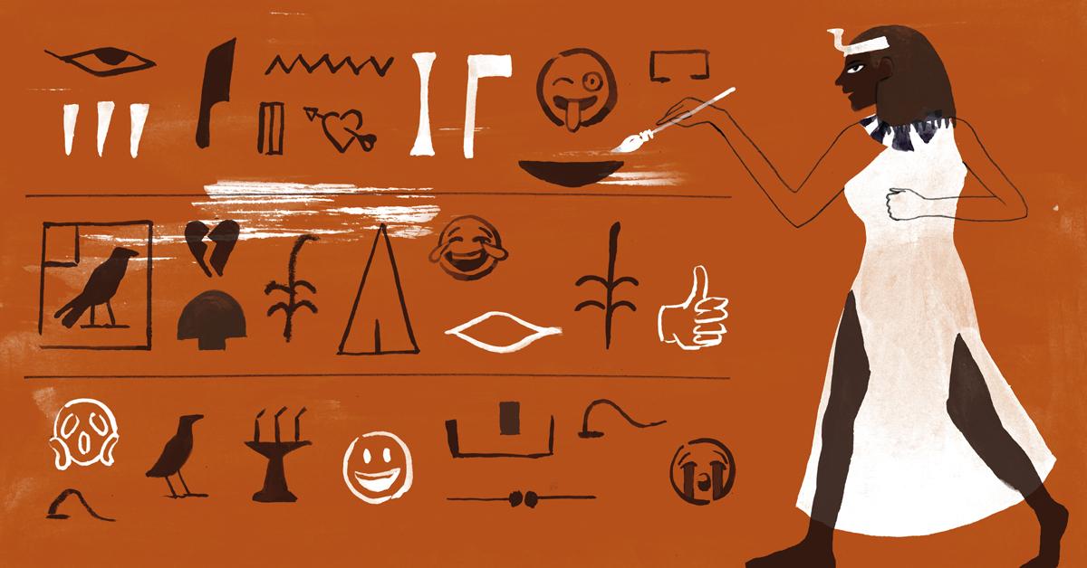 An illustration of hieroglyphics and emoji