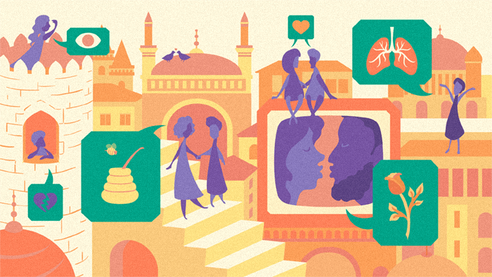 An illustration depicting Turkish soap operas