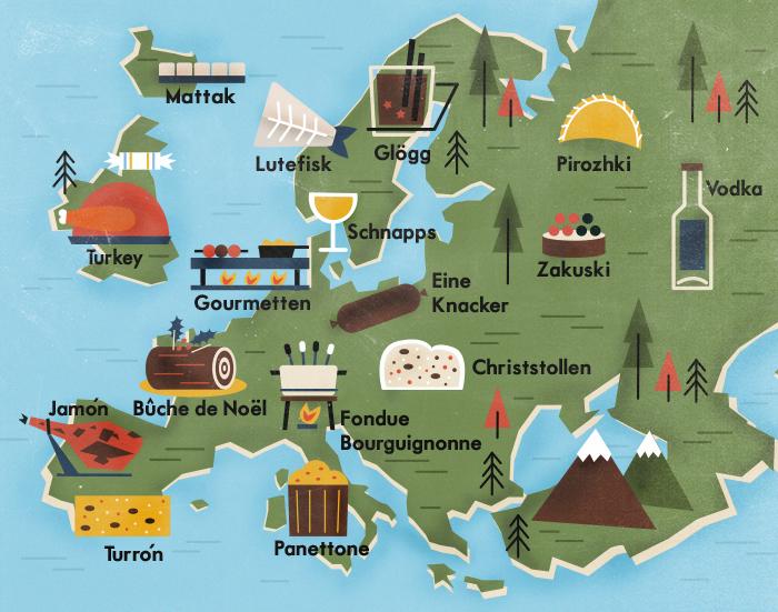 Illustrated European Christmas Foods Map