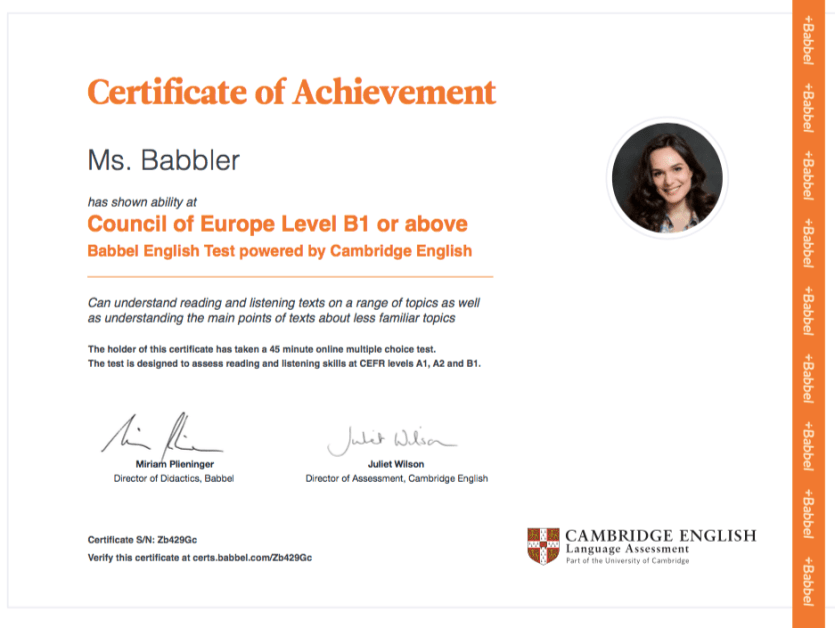 Babbel English Test Certificate