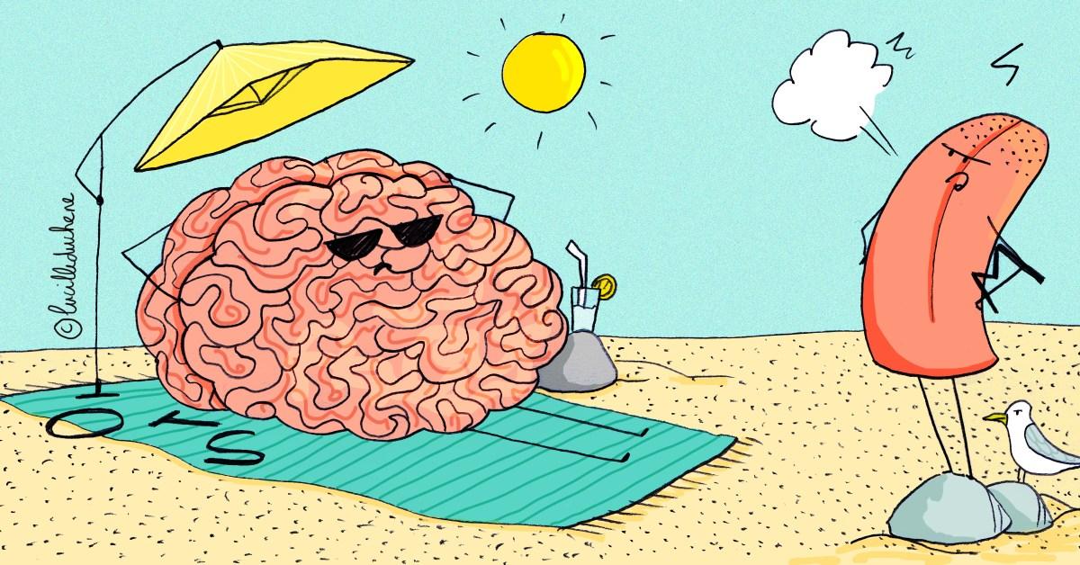 Une langue perd patience alors que son cerveau se repose sur la plage
