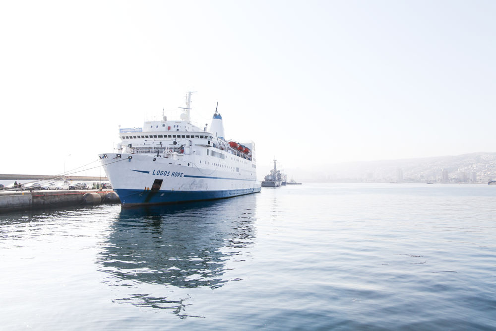 Logos Hope ship sits in port
