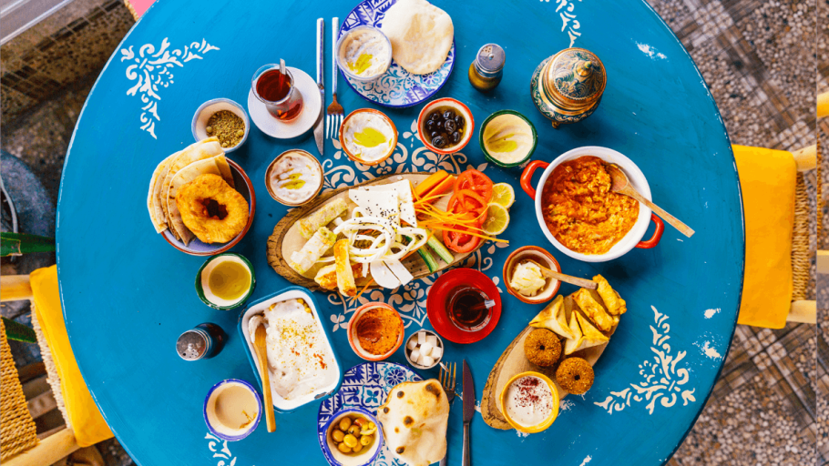 Table filled with various Turkish foods