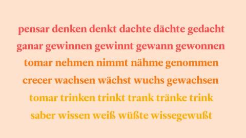 Lista de verbos irregulares en alemán en orden alfabético