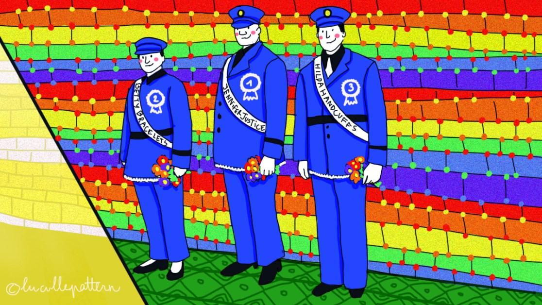 Le polari affublait volontiers les forces de police de surnom féminins tels que « Jennifer Justice », « Hilda Handcuffs » ou « Betty Bracelets ».