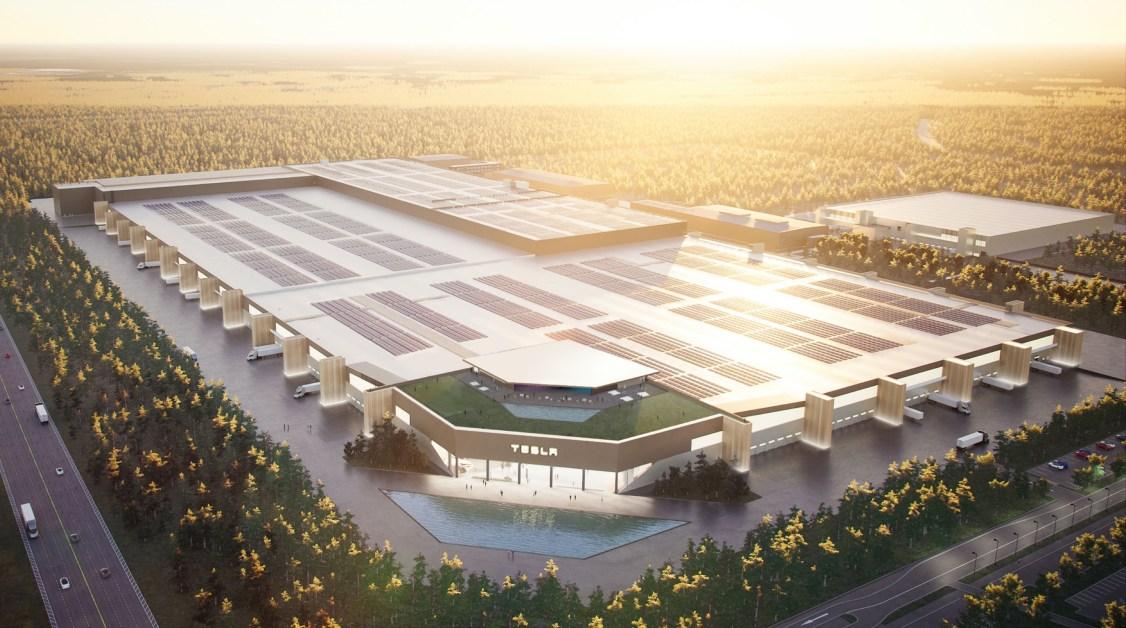 A rendering of the Berlin-Brandenburg Tesla Gigafactory - Is Berlin going bilingual?