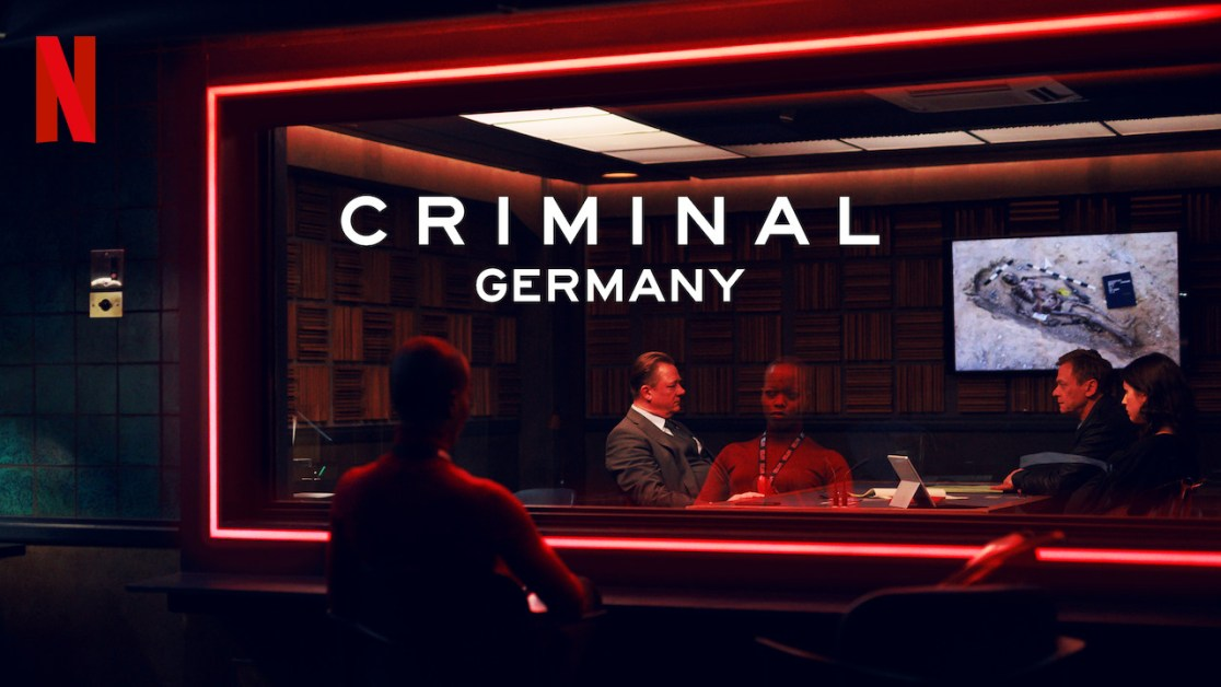 Criminal Germany poster featuring detective looking through the glass to an interrogation room - Best Netflix shows to learn German