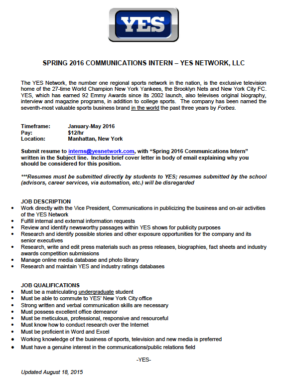yes network is looking for a spring 2016 communications intern