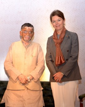 <b>India's Minister of State for Finance, Shri Santosh Kumar Gangwar with Lise Kingo, CEO and Executive Director of the UN Global Compact</b>