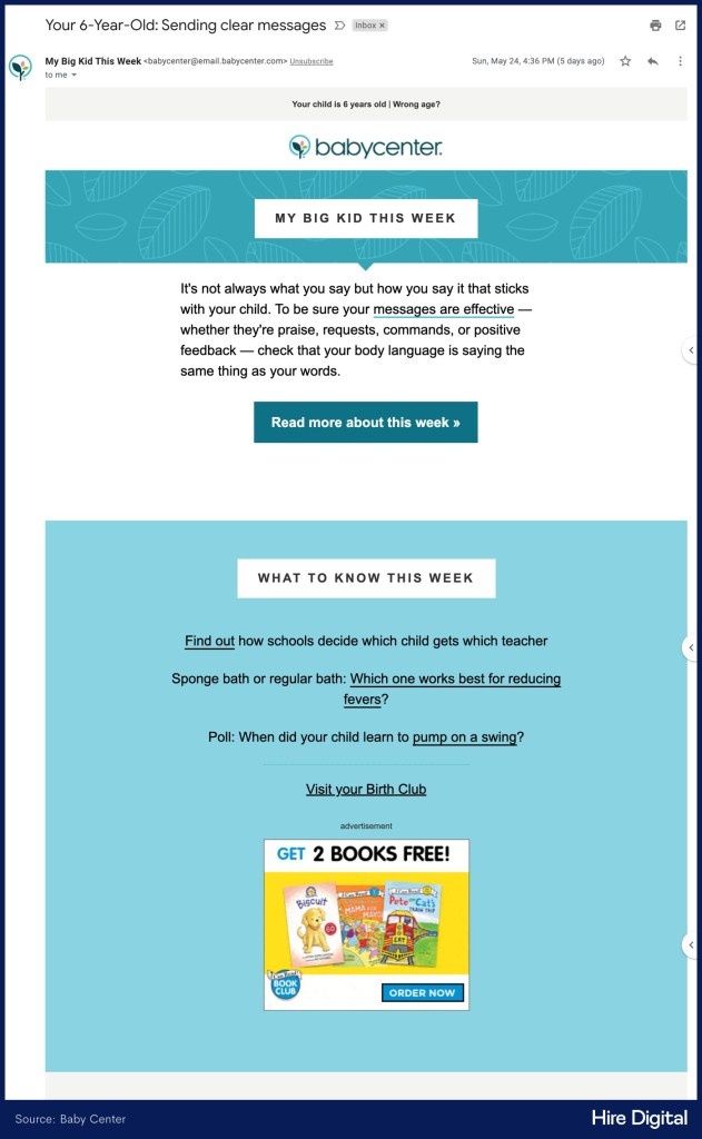 Baby Center Personalized Email Newsletter