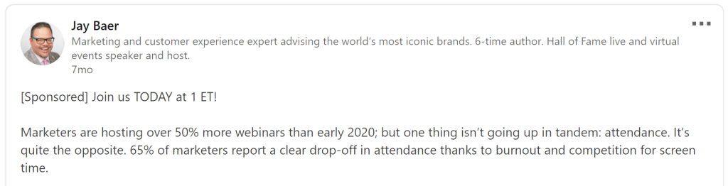 LinkedIn post by Jay Baer saying how 65% marketers report a clear drop-off in attendance.