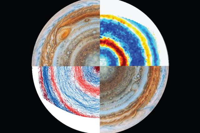 Views Jupiter's south pole (upper left and lower right) and images from the lab experiment to re-create the planet's winds (upper right and lower left).