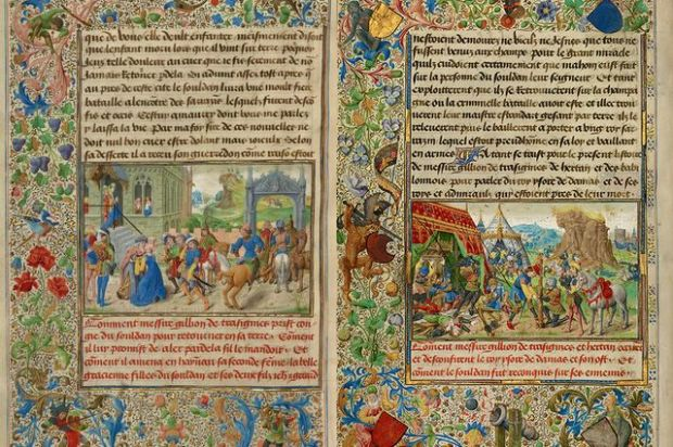 "Lushly illustrated pages from ""The Romance of Gillion de Trazegnies"" manuscript."