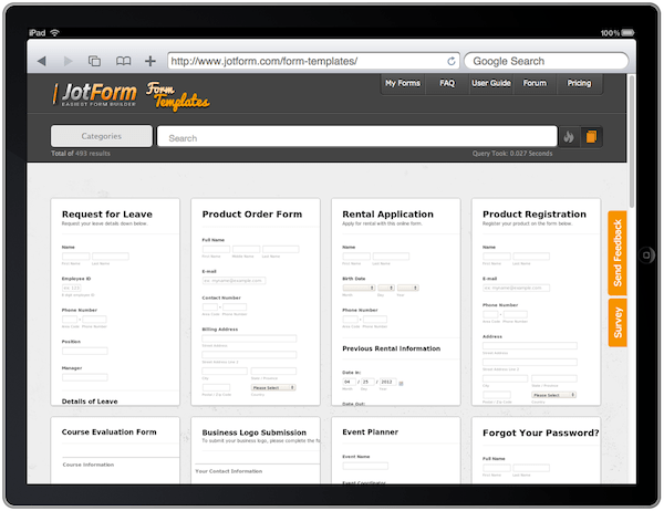 No matter what information you need, whether it's applications, order details, or feedback, we've got online forms of every type, for every industry. Form Templates Gallery Released Over 500 Ready To Use Forms The Jotform Blog