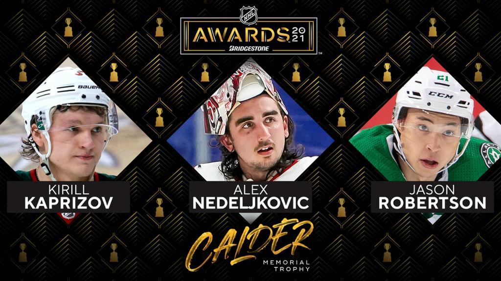 Kaprizov, Robertson, Nedeljkovic named Calder Trophy finalists