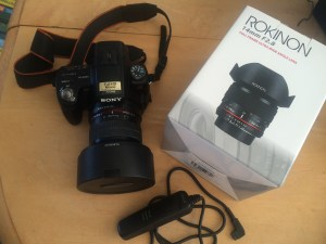 Sony DSL A35 with Rokinon 14mm lens and Vello intervalometer