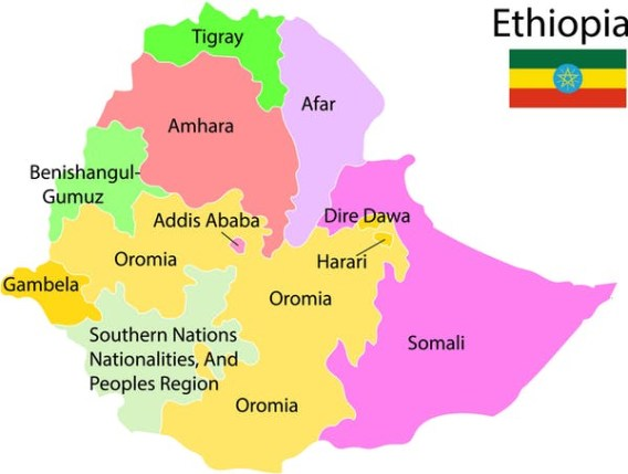 Ethiopia ethnic map