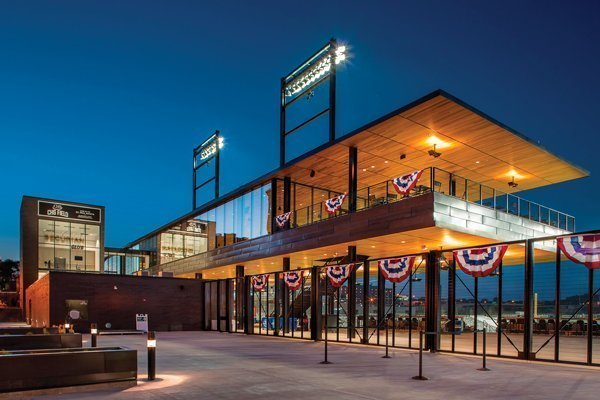 BALLPARK BEAUTY: Western Red Cedar helps set the stage for the theatrical vibe that Saints games are renowned for.