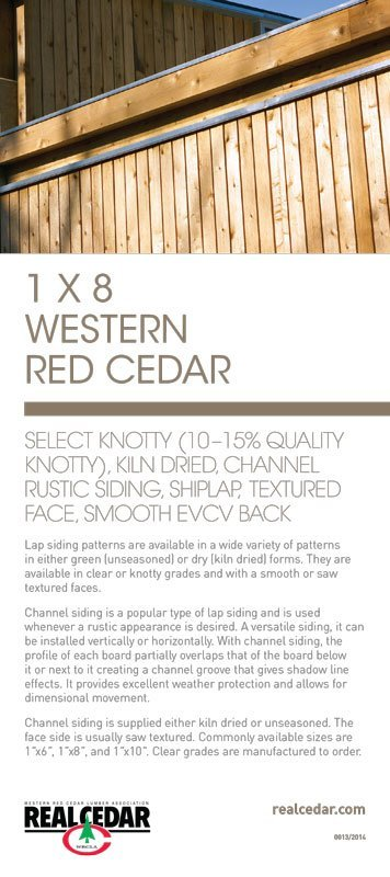 Item#13 – 1 X 8 WRC Select Knotty (10-15% Quality Knotty), KD, Channel Rustic Siding, Shiplap, Textured Face, Smooth EVCV Back