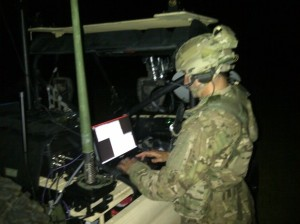 Ranger Battalion Signal Officer sending secure message traffic