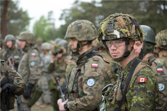 A member of 3rd Battalion, Princess Patricia's Canadian Light Infantry, watches range instructions with his polish counterparts during Exercise ORZEL ALERT near Zagan, Poland on May 7, 2014.