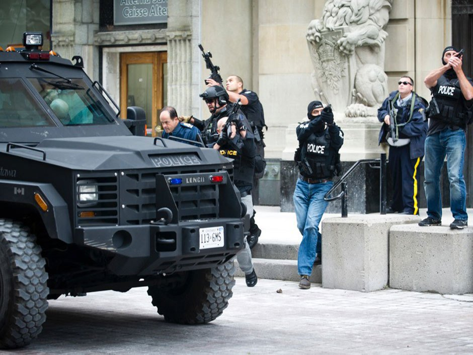 The Canadian chief of the defense staff evacuated by the RCMP ERT team.