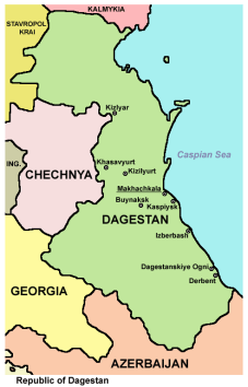 Map of Northeast Caucasus courtesy of Panonian and Wikimedia Commons.