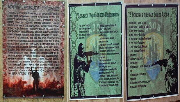 From left to right: Ukraine National Prayer; Decalogue Ukrainian Nationalist; The Oath of Azov. Image courtesy of author.